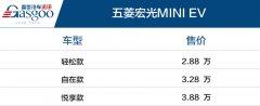 五菱宏光MINI EV上市 售2.88~3.88万元